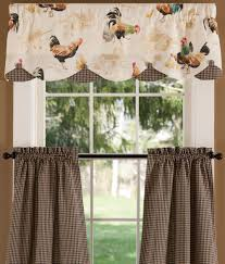 rooster strut lined layered scalloped valance country curtains
