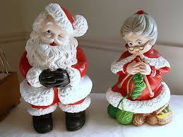 vintage atlantic mold mr mrs santa claus figure set ceramic
