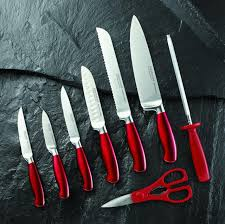 hampton siganture argentum knife block set 14 pieces red
