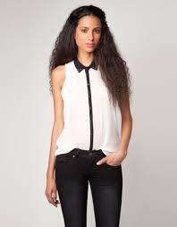 black blouse with white collar white blouse black collar sleeveless blouse