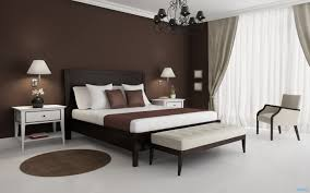 modern bedroom with brown accents wall feat enchanting dark wood