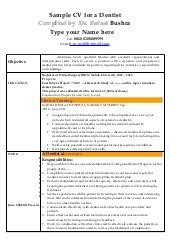 Sample Resume Dentist by Cv Dentist