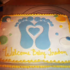 baby shower sheet cake with footprints simplysweetsbytaunya wix