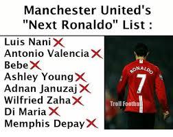 Troll Memes List - manchester united s next ronaldo list c luis nani x antonio