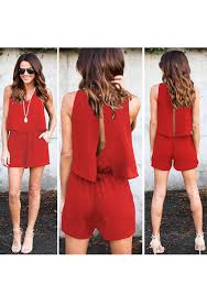 jumpsuit shorts pockets slit sewing mid rise casual jumpsuit shorts