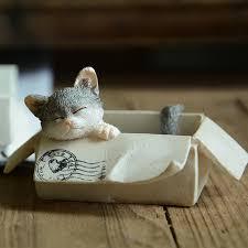 1pc miniature sleeping cat box simulation desktop articales
