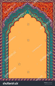 indian ornamented arch color red orange stock vector 475870684
