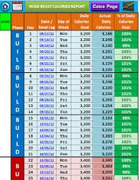 Beast Meal Plan Spreadsheet Excel Workout Tool For Beast