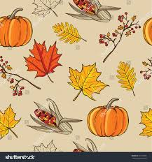 thanksgiving vector art hand drawn thanksgiving seamless pattern maple stock vector