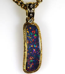 black opal necklace images Bright red multi coloured solid black opal 18ct gold pendant 140 jpg