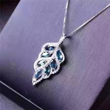 solid sterling silver necklace images Charm women 39 s fashion gem blue sapphire pendant pure 925 solid jpg
