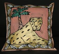 Leopard Home Decor Gold Leopard Palm Treepillow Cover Wall Art Hand Painted In South