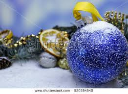 New Year S Fruit Decoration by Glowing Purple Christmas Bauble Decoration Pine Stock Photo