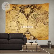 Old world map wall tapestry Historical world map wall hanging