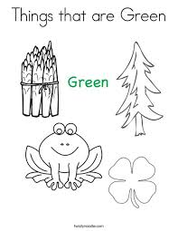 Things That Are Green Coloring Page Twisty Noodle Green Coloring Page