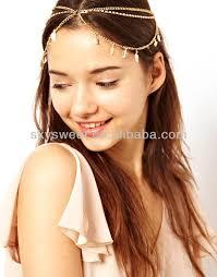 hair decoration cheap gold plated jewellery chain jewelry rhinestone