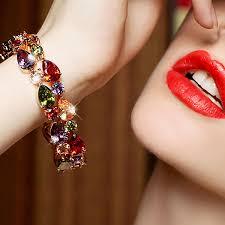 women hand bracelet images New style tear drop lady bracelets bangles elaborate gold plated jpg
