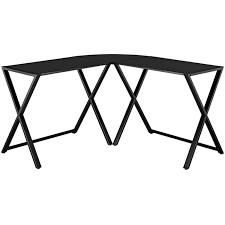 L Shaped Computer Desk Black by Walker Edison Glass And Metal X Frame Corner Computer Desk Black