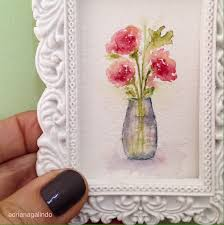 Cute Card With Watercolor Flowers With Hand Draw Sing I Love Little Love Miniature Watercolor Painting Flower Amor Em