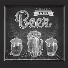 poster with beer in mag chalk drawing stock vector colourbox