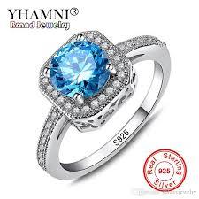 blue gem rings images 2018 yhamni luxury 1ct 6mm natural blue gem stone rings for women jpg
