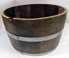 Half Barrel Planters by Cut Barrel Wood Planter