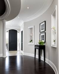 modern baseboard molding hall transitional with painted ceilings
