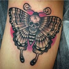 butterfly with skull black ink