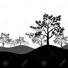 tree sakura silhouette with landscape black and white isolated