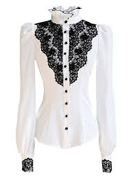 Black Blouse With White Collar 1900s Edwardian Style Blouses Tops U0026 Sweaters