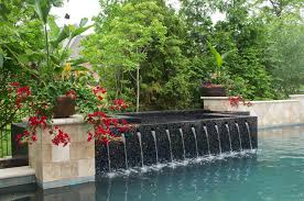 Waterfall Glass Tile Kansas City Pool Remodeling Ideas Traditional With Potted Plant