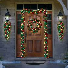 Outdoor Garland Lights Outdoor Garland Pre Lit For Front Door Without Lights
