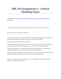 write a response paper phi 210 assignment 2 critical thinking paper strayer university phi 210 assignment 2 critical thinking paper strayer university new