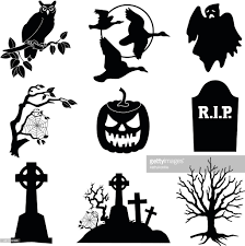 halloween vector icons in black and white vector art getty images