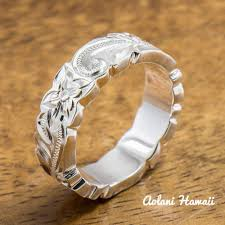silver rings designs images Sterling silver ring with hand engraved hawaiian designs 6mm jpg
