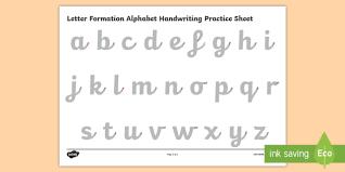 practice alphabet letter formation alphabet handwriting practice sheet lowercase
