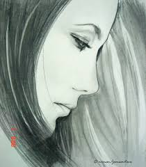 sad face of beautiful lady drawing drawing of sketch