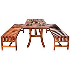 Outdoor Tables And Benches Amazon Com 3 Pcs Beer Table Bench Set Folding Wooden Top Picnic