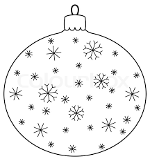 christmas decoration glass ball with snowflakes contours stock