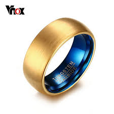 mens tungsten rings images Vnox men 39 s blue tungsten ring classical gold color rings men jpg