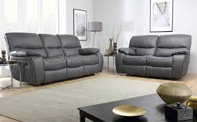 2 Seater Reclining Leather Sofa Beaumont Grey Leather Recliner Sofa 3 2 Seater Recliner