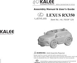 12vrc lexus rx350 battery operated ride on user manual revised