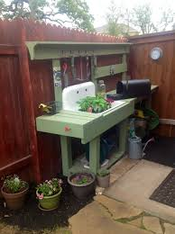 Inexpensive Potting Bench by My New Potting Bench Using An Old Sink U0026 Pressure Treated Lumber