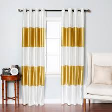 gold striped dupioni faux silk grommet blackout 1 pair