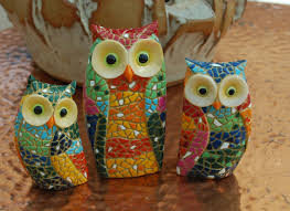 set 3 mosaic owl ornaments the owl company owls