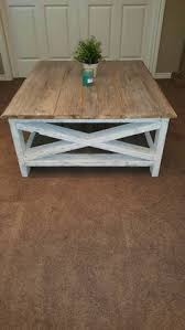 Weathered Wood Coffee Table White Washed Grey Industrial Square Coffee Table Diy