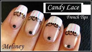 Nail Art Designs To Do At Home Candy Lace French Tip Nail Art Design Nail Tutorial Manicure For