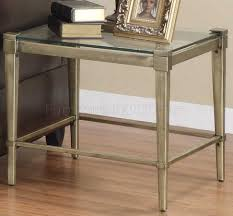 glass top modern 3pc coffee table set w metal legs