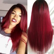 1b 99j front lace wigs 130 density silky straight ombre red human