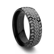 tire wedding rings 6mm 8mm domed tire tread black tungsten wedding band